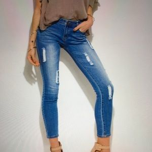 Jeans - NEW Distressed Denim Jeans Mid Rise Size 30 x 27